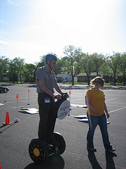 Superintendent Bob Kirby of the National Park Service expertly navigates the Segway obstacle course.