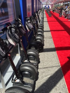 Our Segways lined up on the red carpet.