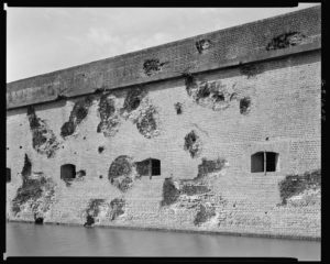Some of the exterior damage at Fort Pulaski